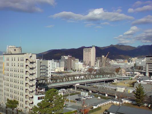 身延線のホームと湯村山城.jpg
